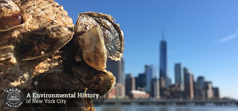 Oysters in front of NYC skyline